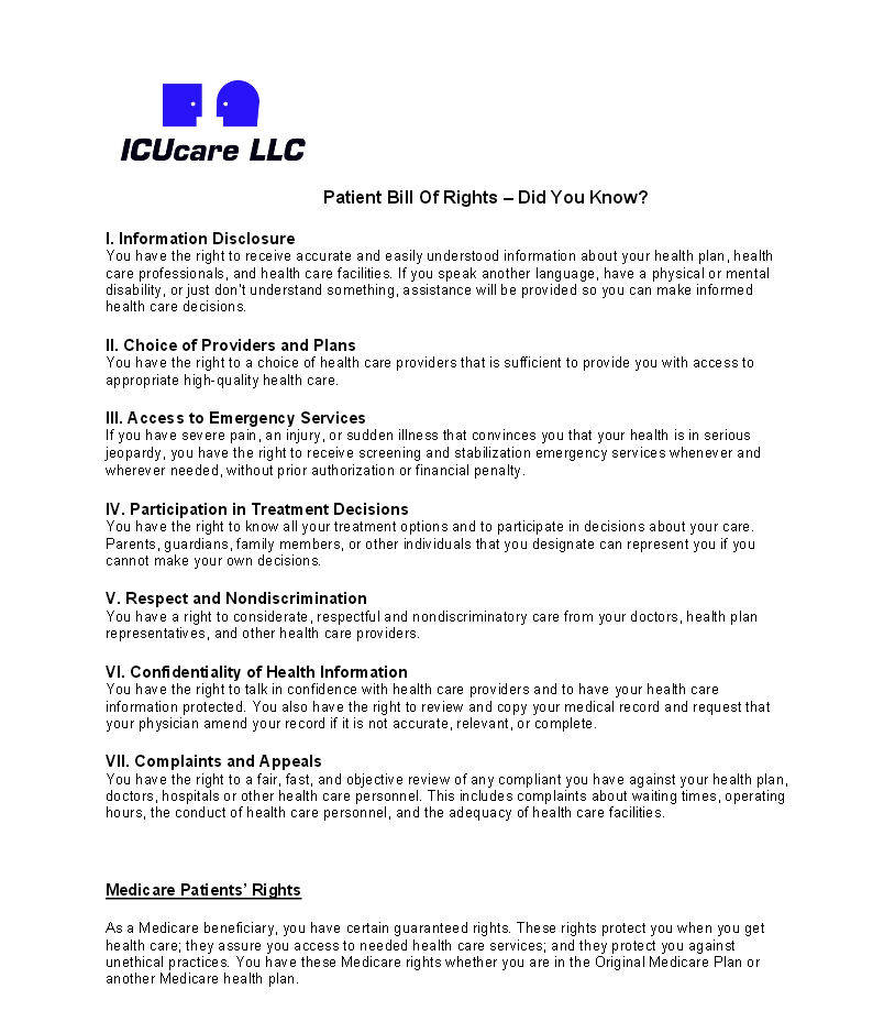 Patient Bill of Rights Page 1